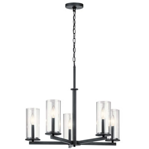 Crosby Black 22-Inch Five-Light Chandelier