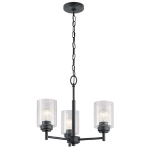 Winslow Black 15-Inch Three-Light Chandelier