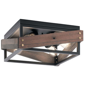 Fulton Cross Black 4-Light Reclaimed Wood Flush Mount