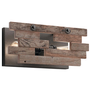 Cuyahoga Mill Anvil Iron Two-Light Reclaimed Wood Wall Sconce