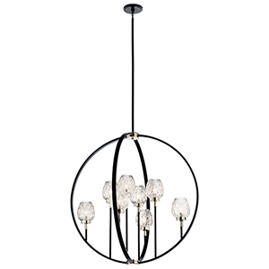 Moyra Black Eight-Light Chandelier