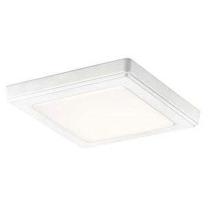 Zeo White 7-Inch Square Flushmount Light in White