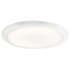 Zeo White 13-Inch Round Flush Mount Light in White