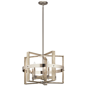 Peyton White Washed Wood Five-Light Chandelier