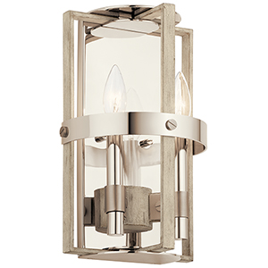 Peyton White Washed Wood Two-Light Wall Sconce