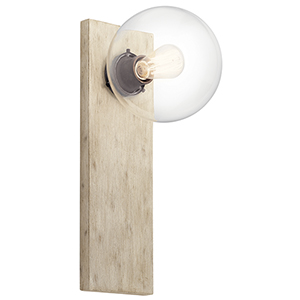 Marquee White Washed Wood One-Light Wall Sconce
