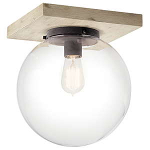 Marquee White Washed Wood One-Light Flush Mount