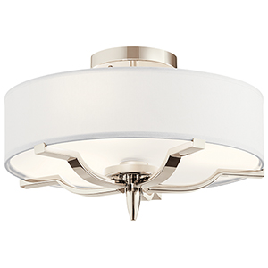 Kinsey Polished Nickel Three-Light Flush Mount