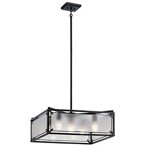 Steel Distressed Black Five-Light 24-Inch Chandelier