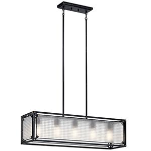 Steel Distressed Black Five-Light 10-Inch Chandelier