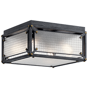 Steel Distressed Black Four-Light Flush Mount