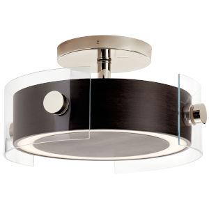 Tig Walnut Wood 15-Inch Two-Light LED Semi Flush Mount
