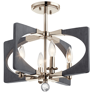 Alscar Driftwood Gray Four-Light Flush Mount