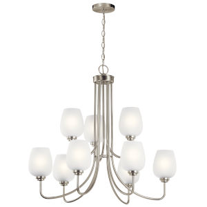 Valserrano Brushed Nickel 32-Inch Nine-Light Chandelier