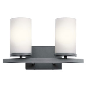 Crosby Black Two-Light Bath Vanity