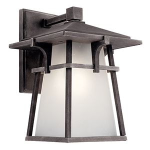 Beckett Weathered Zinc Eight-Inch One-Light Energy Star LED Outdoor Wall Mount