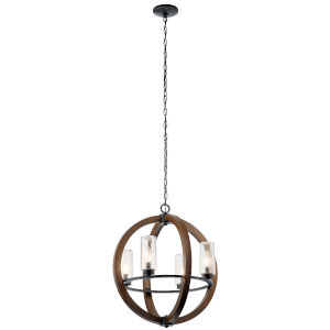 Grand Bank Auburn Stained 20-Inch Four-Light Outdoor Chandelier
