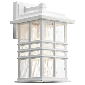 Beacon Square White One-Light Eight-Inch Outdoor Wall Sconce