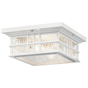 Beacon Square White Two-Light Outdoor Flush Mount