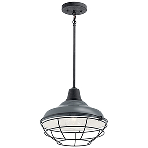 Pier Gloss Gray One-Light 12-Inch Outdoor Pendant