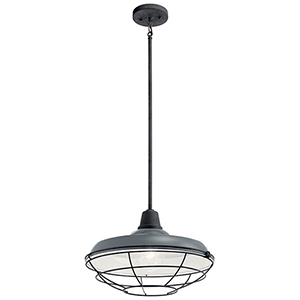 Pier Gloss Gray One-Light 11-Inch Outdoor Pendant