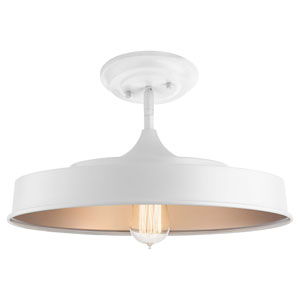 Elias White One-Light Semi Flushmount