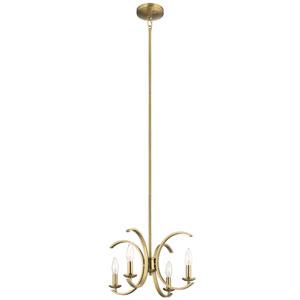 Cassadee Brushed Natural Brass Four-Light Convertible Pendant