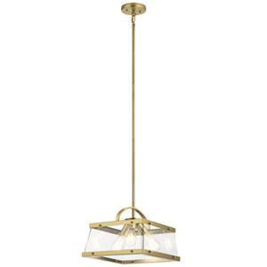 Darton Brushed Natural Brass Three-Light Convertible Pendant