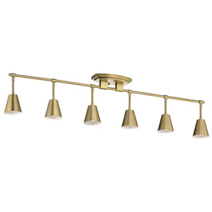 Sylvia Brushed Natural Brass Six-Light Rail Light
