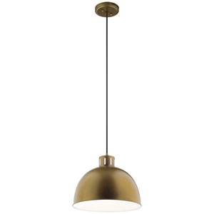 Zailey Natural Brass 13-Inch One-Light Pendant