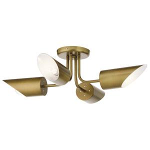 Trentino Natural Brass Four-Light Semi Flushmount