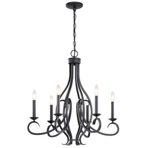 Ania Black Six-Light Chandelier