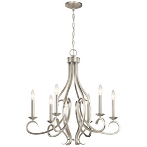 Ania Brushed Nickel Six-Light Chandelier
