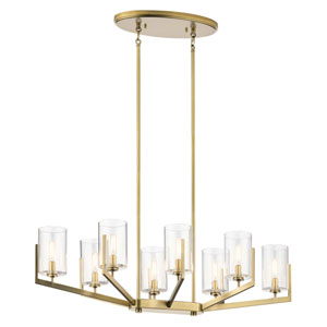Nye Brushed Natural Brass Eight-Light Chandelier