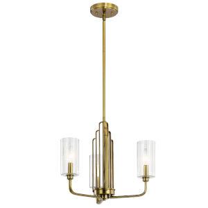 Kimrose Brushed Natural Brass Three-Light Chandelier
