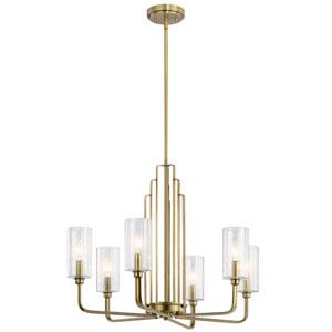 Kimrose Brushed Natural Brass Six-Light Chandelier