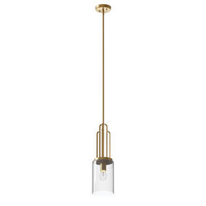 Kimrose Brushed Natural Brass One-Light Mini Pendant