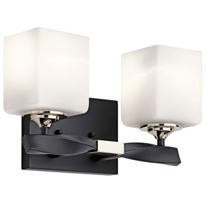 Marette Black Two-Light Bath Vanity