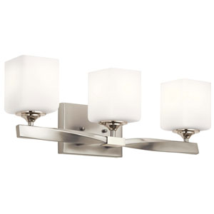 Marette Brushed Nickel Three-Light Bath Vanity