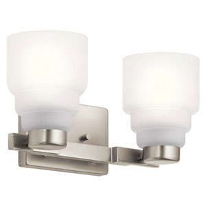 Vionnet Brushed Nickel Two-Light Bath Vanity