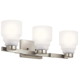 Vionnet Brushed Nickel Three-Light Bath Vanity