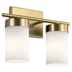 Ciona Brushed Natural Brass Two-Light Bath Vanity