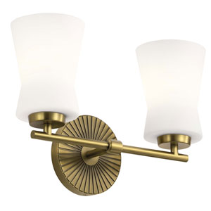 Brianne Brushed Natural Brass Two-Light Bath Vanity