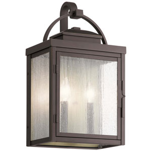 Carlson Rubbed Bronze 18-Inch Two-Light Outdoor Wall Sconce