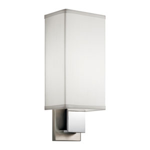 Brushed Nickel and Chrome 6-Inch Energy Star LED Wall Sconce with White Linen Shade