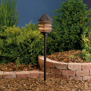 Six Groove Textured Architectural Bronze 9.5-Inch One-Light Landscape Tiered Path Light
