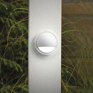Textured White 4-Inch One-Light Landscape Deck Fixture