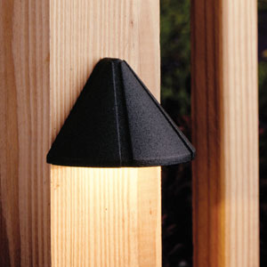Six Groove Textured Black 4-Inch One-Light Landscape Deck Fixture