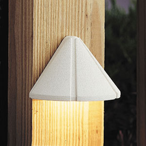 Six Groove Textured White 4-Inch One-Light Landscape Deck Fixture
