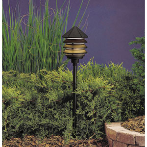 Textured Black Line Voltage One-Light Landscape Path Light